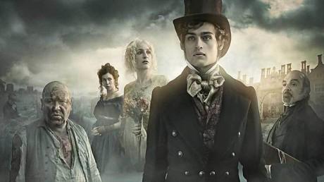 """Da sinistra: Abel Magwitch, Estella, Miss Havisham, Philip """"Pip"""" Pirrip, Jaggers"""